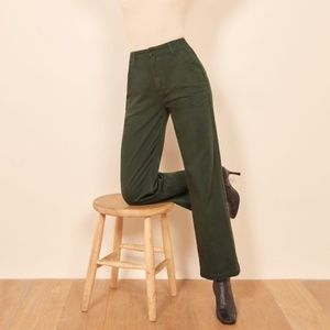 REFORMATION Lani Work Pant in Forest Green 29